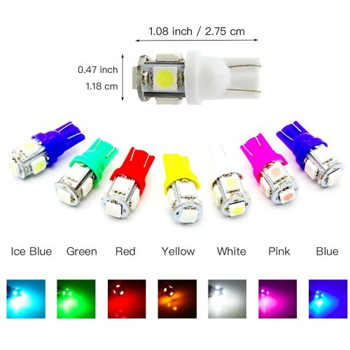 T10 501 W5W 5 SMD 5050 Xenon Colour LED Side Interior Number Wedge Light